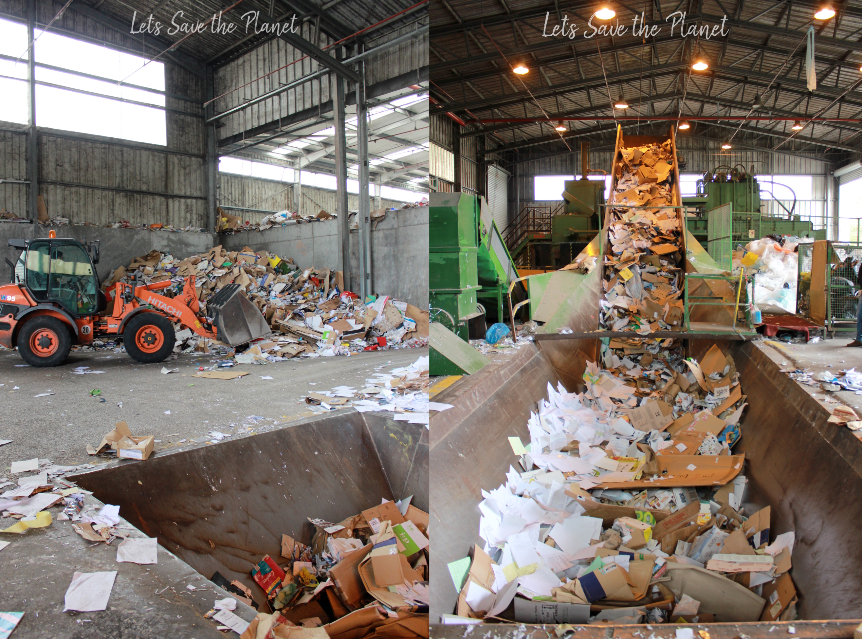 Central de triagem do papel, local onde é deixado depois de recolhido e máquina no qual é colocado em prensas.