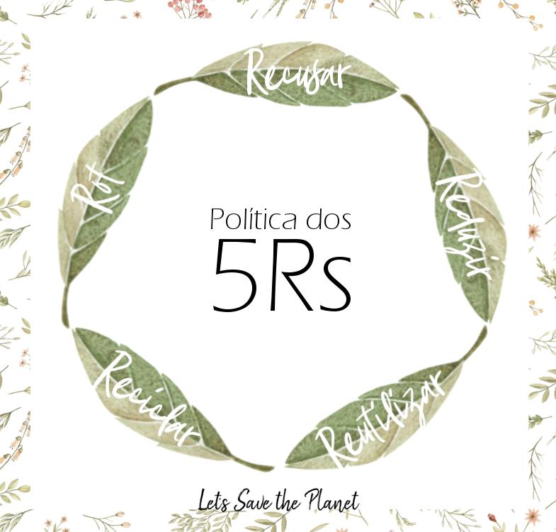 Uma imagem artística com todos os 5 passos da política dos 5Rs escritos em folhas.