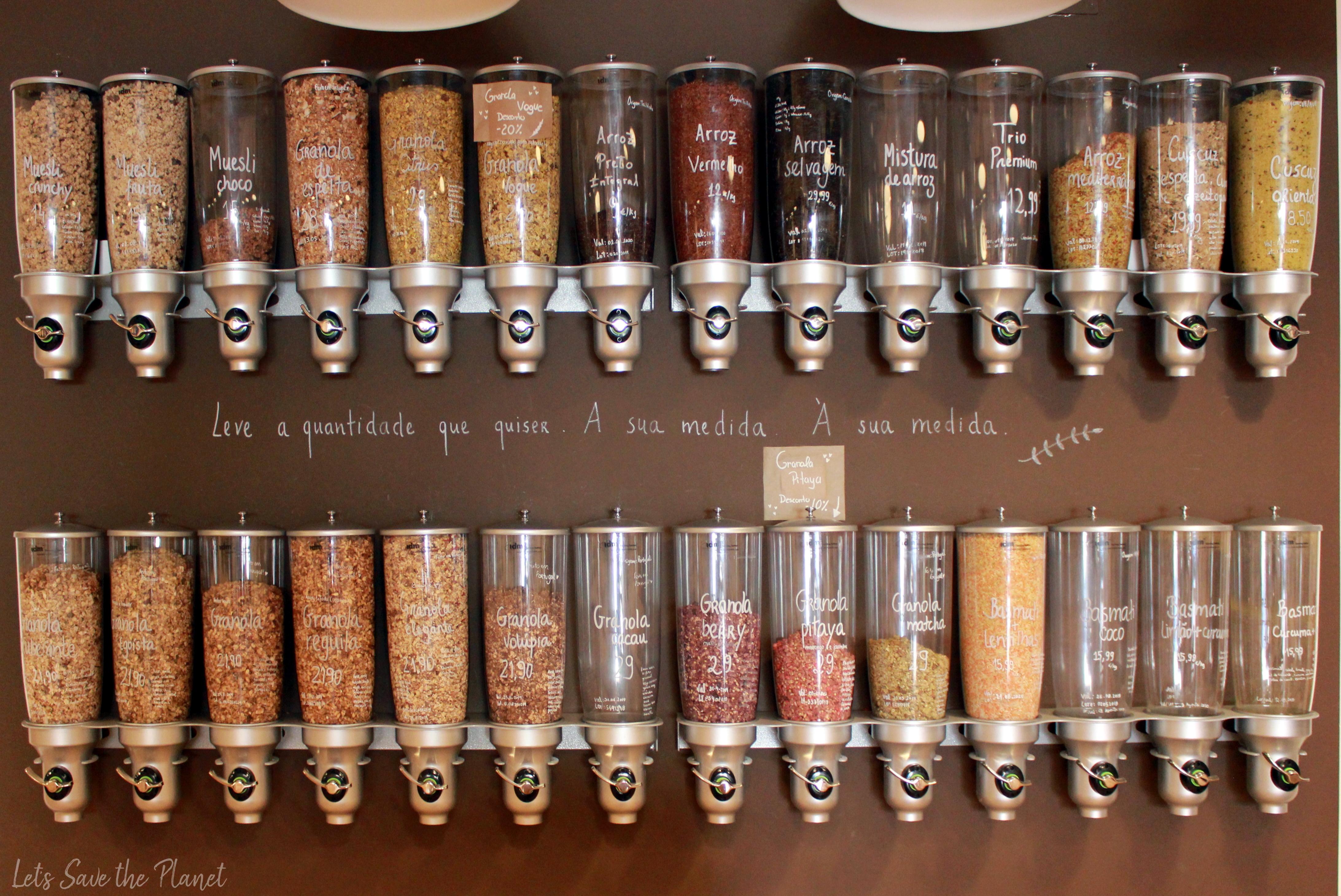 Zona dos cereais, recipientes fáceis de utilizar.